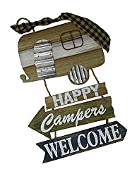 Camping Welcome Sign Navy & Tan Wood Sign 17 Inches H X 11 Inches W
