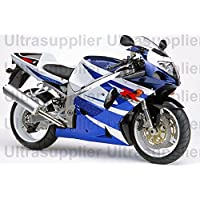 Blue & White Complete Injection Fairing for 2001-2003 Suzuki GSXR 600 750