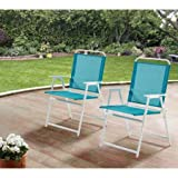 Mainstays Pleasant Grove Sling Bistro, Dining and Seating Outdoor Patio Furniture Folding Chair Set of 2 - Teal