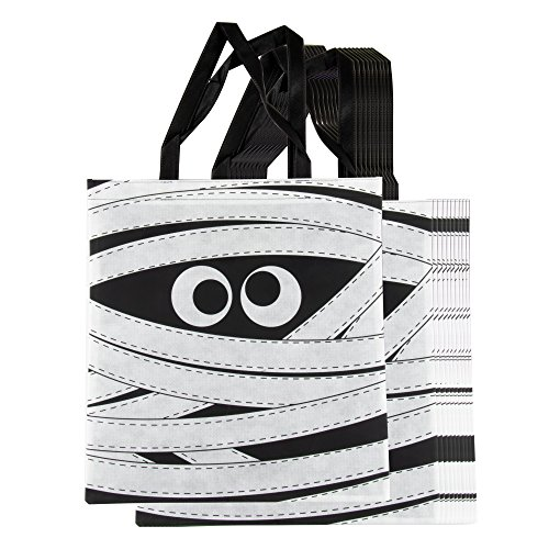 Halloween Tote Bags - 12-Pack Reusable Trick-or-Treat Bags, Party Gift Bags, Candy Goodie Toy Bags for Kids Halloween Party Favors, Mummy Design, 15 x 16 Inches -