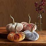 Velvet Pumpkins, SET of 4: Copper, Gray, Taupe, Bronze; Home Decor, Holiday Mantle Decor, Centerpiece, Fall, Halloween, Thanksgiving