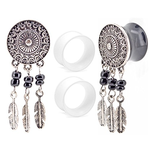 "2g Body Jewelry (OUFER Body Jewelry Stainless Steel Dream Catcher Dangle Double Flared Plug with Clear Silicone Ear Stretcher Piercing (2G--5/8"")4piece (2G=6mm))"