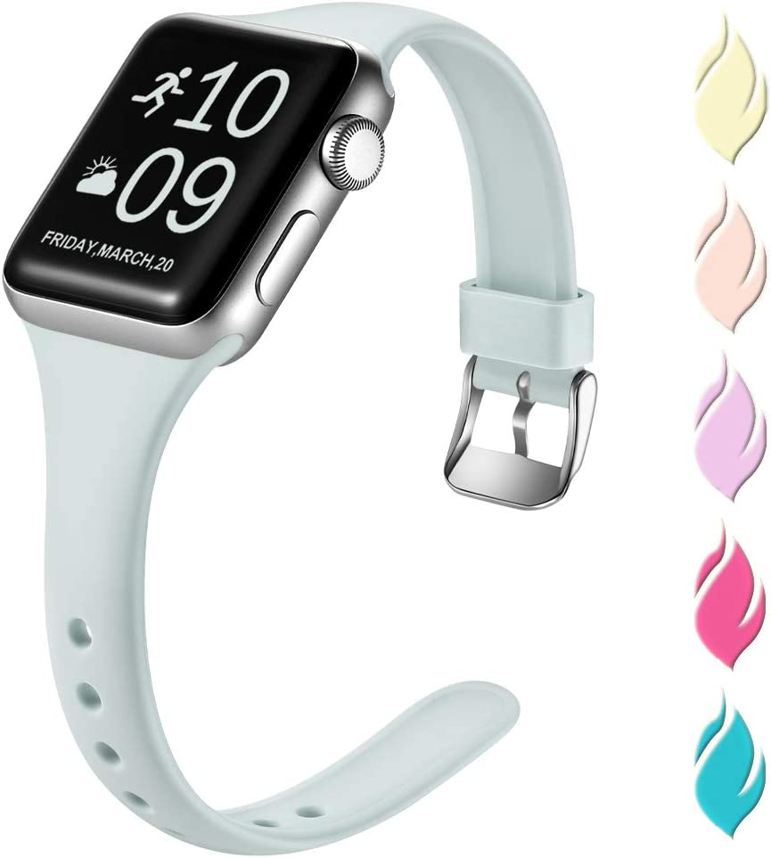 Henva Slim Band Compatible with Apple Watch SE Band 44mm 42mm, Replacement Accessories Soft Durable Silicone Thin Strap for Apple/iWatch Series 6/5/4/3/2/1,Turquoise, S/M