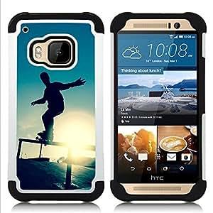GIFT CHOICE / Defensor Cubierta de protección completa Flexible TPU Silicona + Duro PC Estuche protector Cáscara Funda Caso / Combo Case for HTC ONE M9 // Skate Sunset //