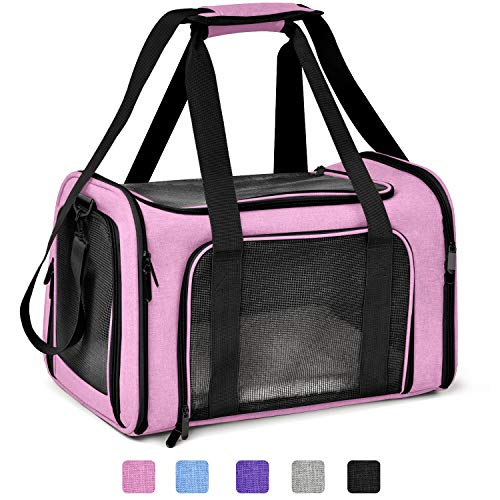 Henkelion Cat Carriers Dog Carrier Pet Carrier for Small Medium Cats Dogs Puppies up to 15 Lbs, TSA Airline Approved Small Dog Carrier Soft Sided, Collapsible Waterproof Travel Puppy Carrier - Pink ()