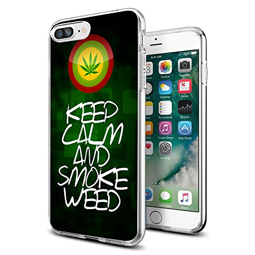 Keep Clam and Smoke Weed Marijuana Weed iPhone case for iPhone 7/8 Plus case Protective for Girls Men Women Cover Shockproof Bumper Anti-Drop PC Frame for 5.5