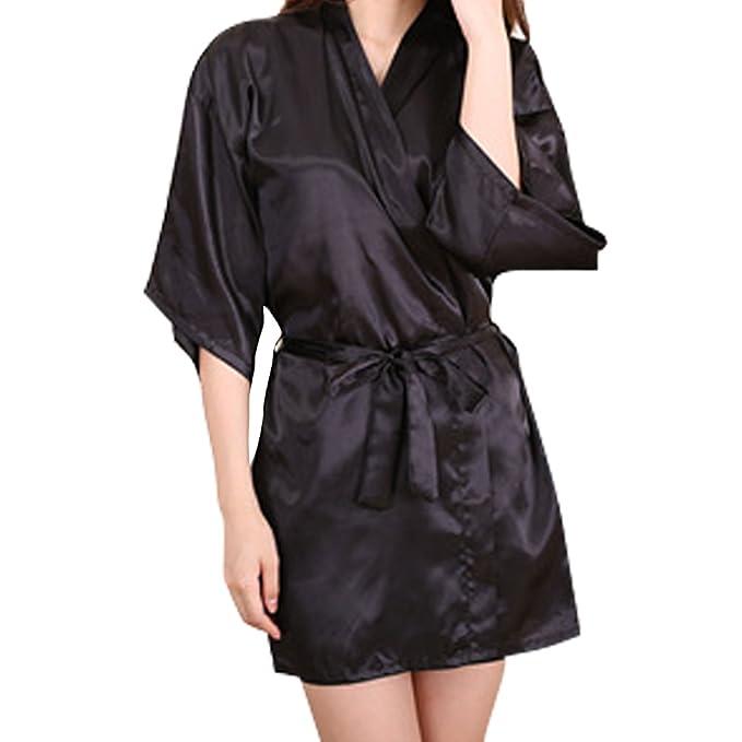 SYGoodBUY Bata de Noche para Mujer Bata de Dormir Camisón Camisón de Satén (Color :