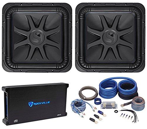 "(2) Kicker 44L7S152 15"" 4000W Solobaric L7S Subwoofers+Mono Amplifier+Amp Kit"