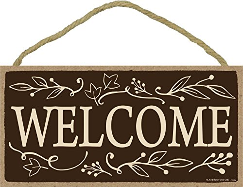 Welcome - 5 x 10 inch Hanging Signs, Wall Art, Decorative Wood Sign, Fall Signs -