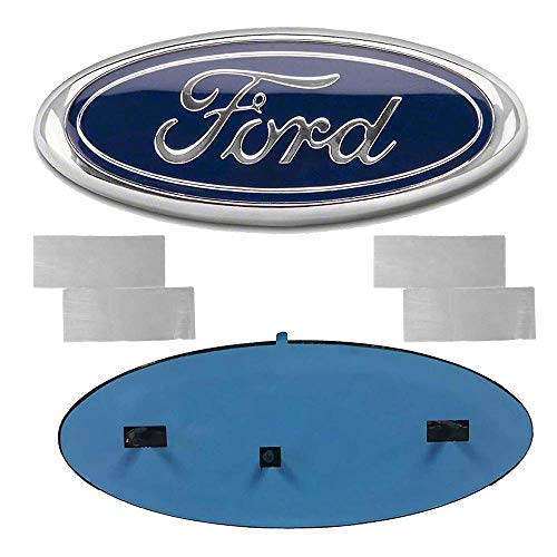 "Carhome01 2004-2014 F150 Front Grille Tailgate Emblem for Ford, Oval 9""X3.5"" Dark Blue Decal Badge Nameplate Fit for 04-14 F250 F350, 11-14 Edge, 11-16 Explorer, 06-11 Ranger (Partial Update)"