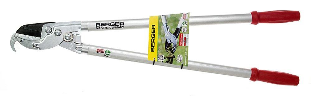 Berger Amboss-Astschere Profi Kraftübersetzung Antihaft-Klinge auswechselbar Amboss mit Reisshaken Länge 800 mm