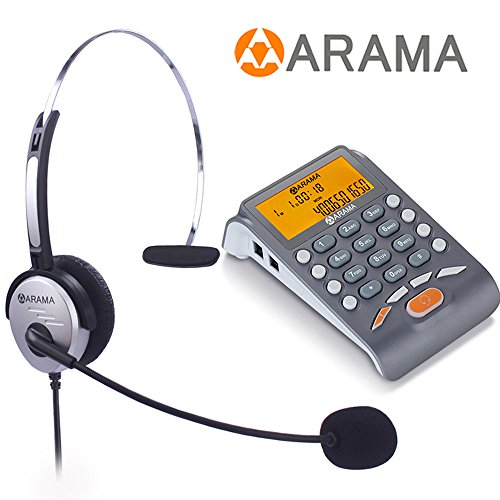 Headset Ready Phones - Arama Corded Telephone with Headset, Landline Telephone Headset with Noise Cancellation Headset for Office Business and House Call Center Office