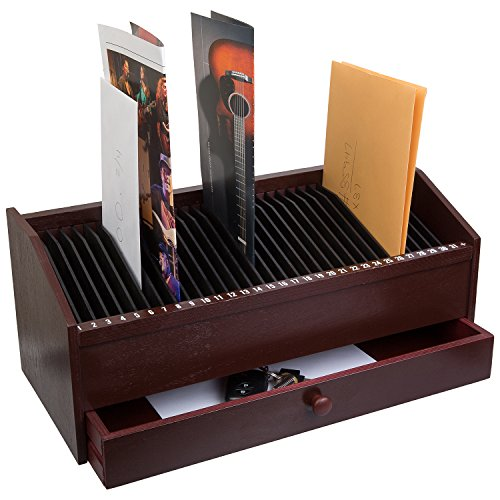 """17"""" - 31 Slot Wooden Bill/Letter Organizer With Drawer - Mahogany Dark Brown BY JUMBL™"""