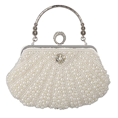 Bag Luxury Shell Baglamor Purses White Handbag Party Women's Crystal fit Beautiful Pearl Bag Evening Wedding BqEHwp