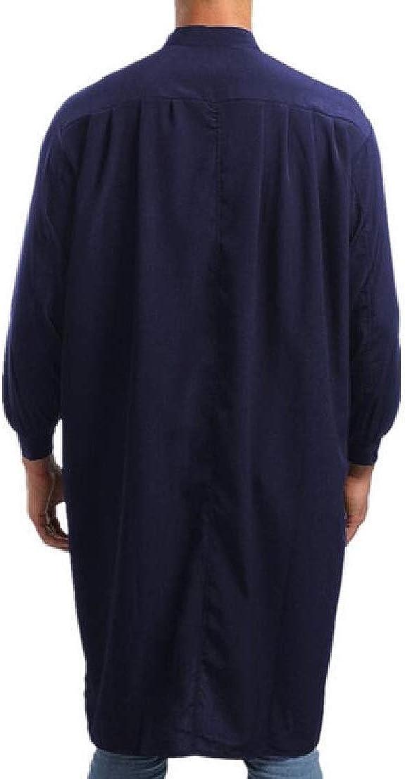 X-Future Mens Muslim Long Sleeve Stand Collar Classic Islamic Long Shirts