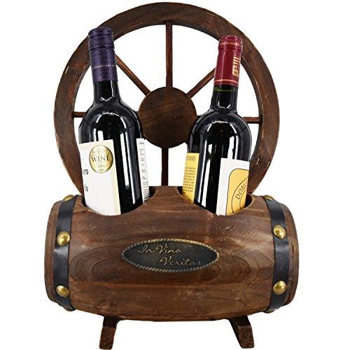 Wooden Barrel Cart Wheel Wine Rack Bottle Holder Natural Hand Made Display...