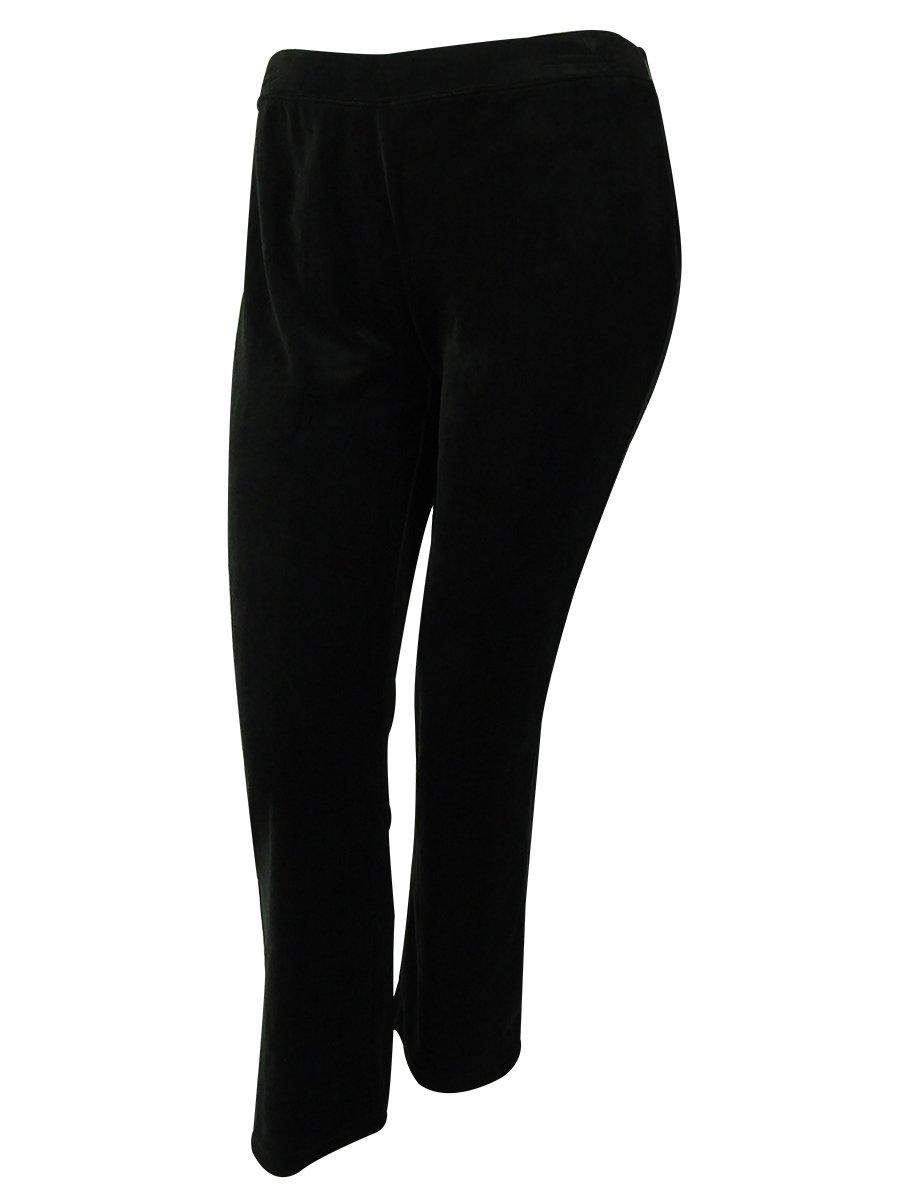 Style & Co. Women's Sport Short Length Velour Pants (PXS Short, Deep Black)
