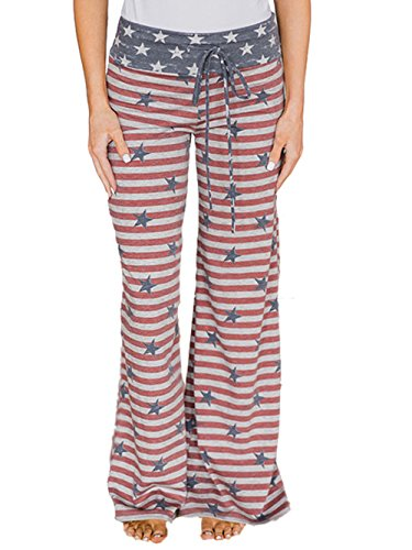 American Lounge Pants - Famulily 4th of July American Flag Drawstring High Waist Wide Leg Pants Loungewear£¨2X-Large£