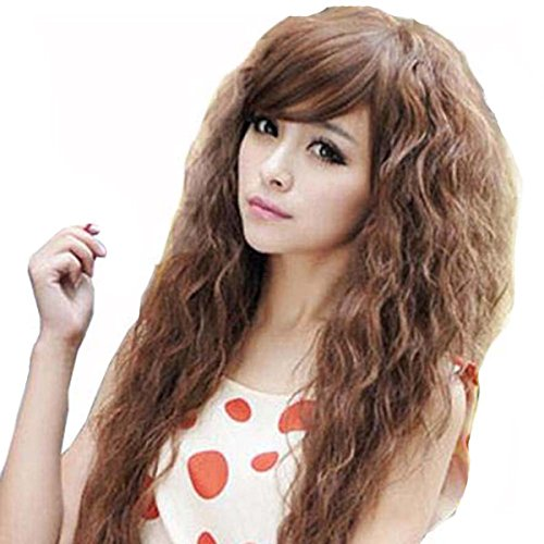 "TopWigy Long Curly Wave Wigs Synthetic Hair Oblique Bang Cosplay Party Wig 18"" (light brown)"