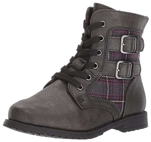 Rachel Shoes Girls' Lil Arlington Combat Boot, Grey/Metallic, 7 M US Toddler ()