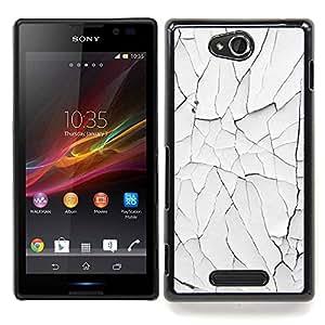 For Sony Xperia C Case , Pintura blanca lamentable oxidado pared - Diseño Patrón Teléfono Caso Cubierta Case Bumper Duro Protección Case Cover Funda