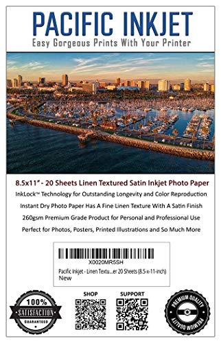 Pacific Inkjet - Linen Textured Satin Inkjet Printer Photo Paper 20 Sheets (8.5-x-11-inch)