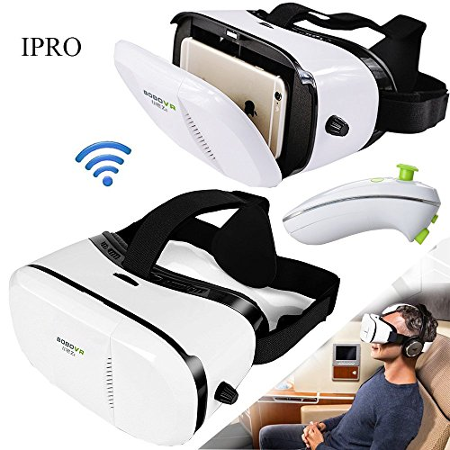 """IPRO Google Cardboard BOBOVR Z3 3D Virtual Reality Movie Video Glasses 4-6"""" Smartphone Immersive Games Headset HelmetVR Box with Wireless Bluetooth Mouse Gamepadfor IOS iphone&Android Samsung,lg"""