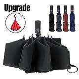 LANBRELLA Compact Reverse Folding Umbrella Auto Windproof Travel Umbrella-Black