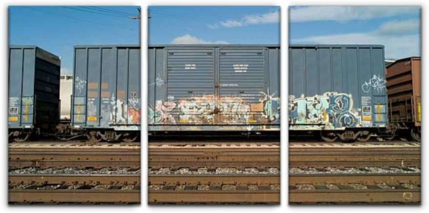"Gracelapin Modern Canvas Painting boxcar with Graffiti Freight Train usas and Pictures Wall Art Artwork Decor Printed Oil Painting Landscape Home Office Bedroom Framed Decor (16""x24""x3pcs)"