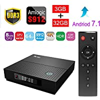 Sawpy TX92 Smart tv box Android 7.1 Amlogic 3GB+32GB DDR3 BT 4.0 2.4/5 Dual-Band WiFi 4K UHD & LAN VP9 DLNA H.265