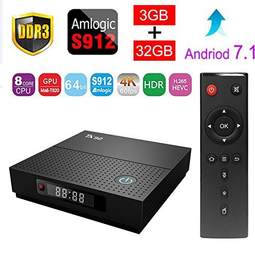 Sawpy TX92 Smart tv Box Android 7.1 Amlogic 3GB+32GB DDR3 BT 4.0 2.4/5 Dual-Band WiFi 4K UHD & LAN VP9 DLNA H.265