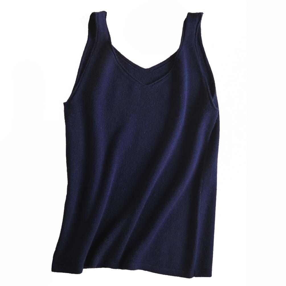 FINCATI Pure Cashmere Camisole Vests Top 2018 Spring Summer Spaghetti Strap Soft Skin Friendly Sexy Slim V Neck 3 Colors (B-Dark Blue, S)