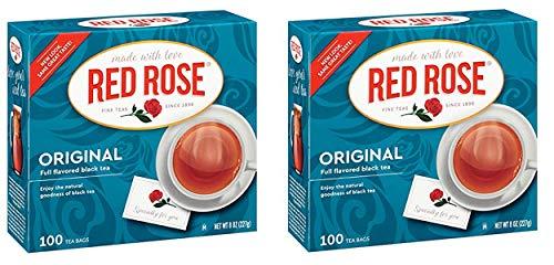 Red Rose Original Black Tea Bags - 100 Count - Pack of 2 (200 Tea Bags -