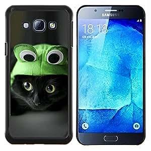 For Samsung Galaxy A8 A8000 - frog cat hat cute black eyes kitten shorthair /Caja protectora de pl???¡¯????stico duro de la cubierta Dise???¡¯???¡Ào Slim F