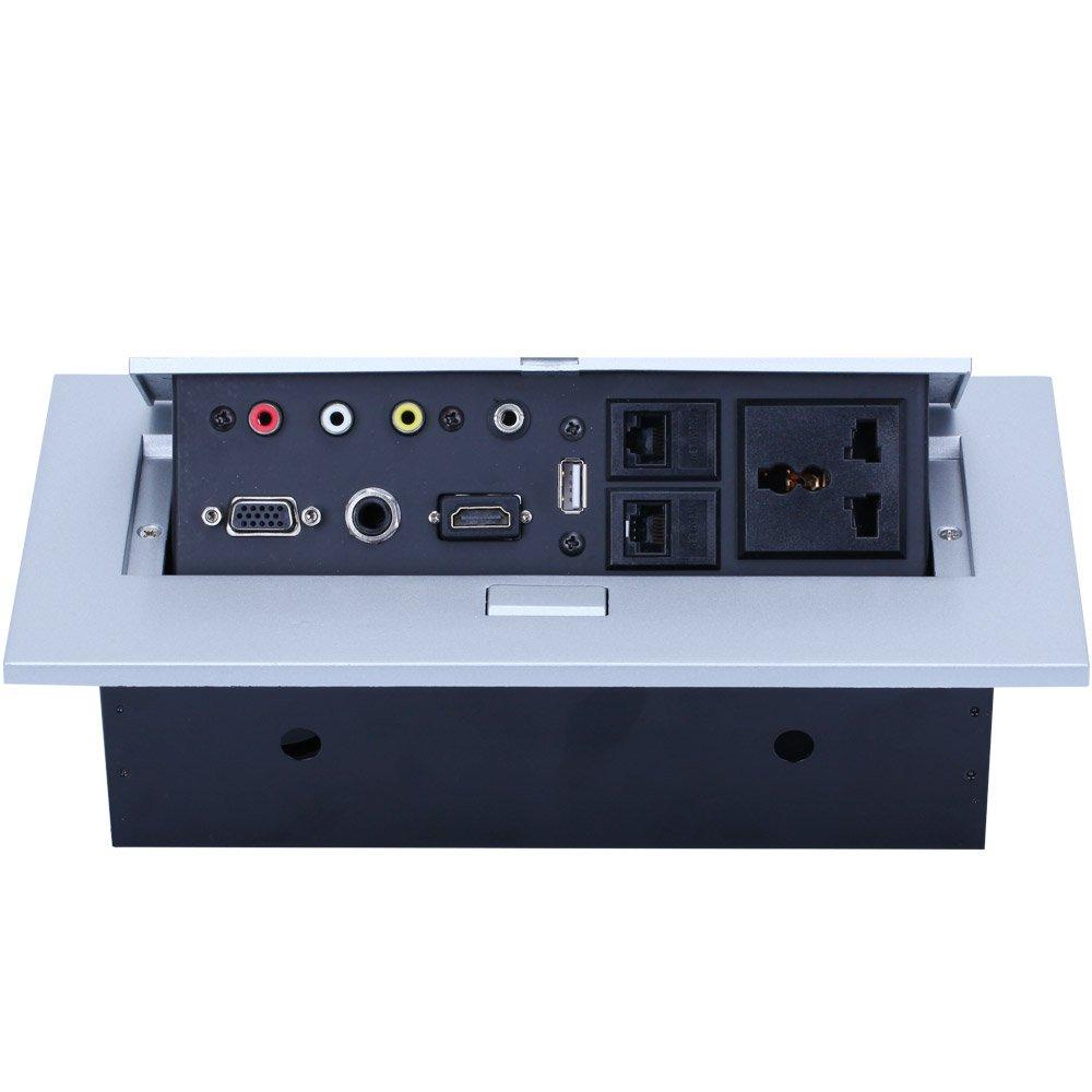E-best Multimedia Pop up Desktop Power Office Hidden Desktop Socket Multi Outlet with HDMI/VGA /AV/Audio / Universal Power Socket / USB2.0/2 Network / 6.35 Mic Interface