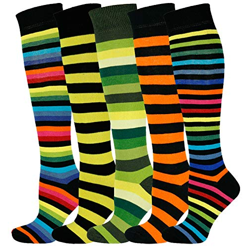 Mysocks Unisex Kniestrümpfe lange Socken Streifen