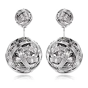 Hollowed Studs Earrings white gold plated