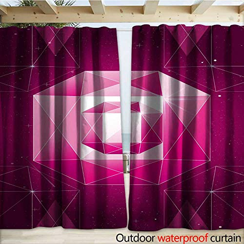 warmfamily Grommet Curtain Panel Vector Illustration of Trendy Cosmic Crystal Geometric Shapes Pink Color Polygon Diamond or Crystal Poster Outdoor Curtain W120 x L108 ()
