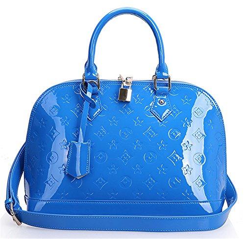 La mujer Xinmaoyuan bolsos de cuero Repujado Bolsa Shell Cowhide flor hombro bolsa femenina banda oblicua Bolsa de Dama,azul Blue