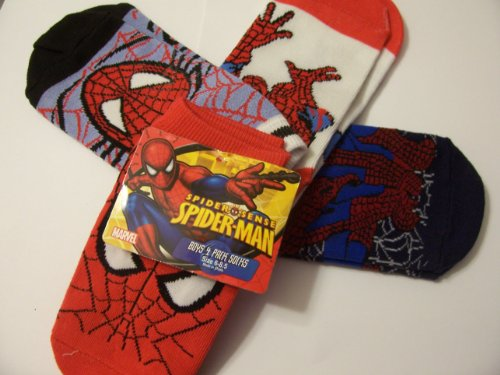 Marvel Spiderman Spidersense 4 Pack Boys Low-cut Socks ~ Size 6-8.5 (Full Face, Face in Web on Blue, Crawling on White, Navy Crouch)