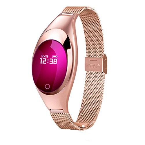 Ladies Fashion Smart Wristband Fitness Tracker Self-Timer Watch Heart Rate Blood Pressure Monitor OELD Screen Smartwatch Healthy Smart Bracelet Z18 (Gold)