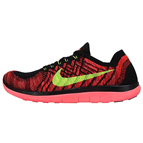 Nike Men's Free 4.0 Flyknit, BLACK/VOLT-HOT LAVA-BRIGHT CRIMSON, 10.5 M US