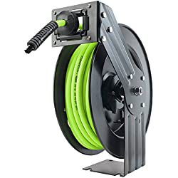 Flexzilla Open Face Retractable Air Hose Reel, 3/8 in. x 50 ft, Heavy Duty, Lightweight, Hybrid, ZillaGreen - L8611FZ