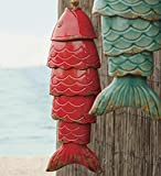 Colored Porcelain Koi Fish Wind Chime, in Red