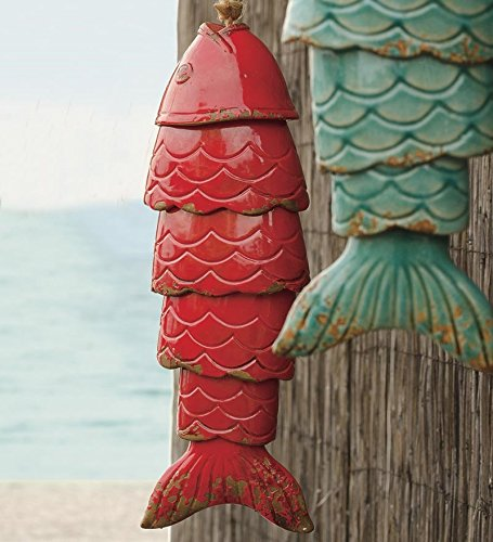 Colored Porcelain Koi Fish Wind Chime, in Red by Wind & Weather