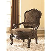 Ashley North Shore 2260360 Showood Accent Chair with Scrolling Arms Solid Hardwood Frame and Fabric Upholstery in Dark