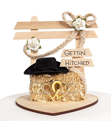 Gettin Hitched Western Affection Wedding Cake Topper: Heart Color: GOLD