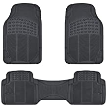 BDK MT-783-BK All Weather Solid Black Rubber Trimmable Front and Rear 3 Pieces Universal Car Van Truck Floor Mats Set