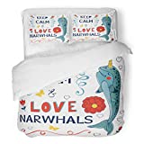 SanChic Duvet Cover Set Colorful Animals Keep Calm and Love Narwhals Aquatic Decorative Bedding Set with Pillow Sham Twin Size