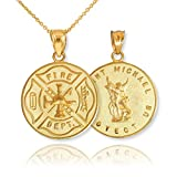 14k Yellow Gold Fireman Protection Shield Medal of St Michael Firefighter Pendant Necklace